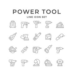 Set line icons power tool vector