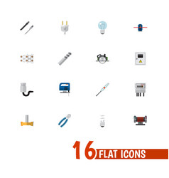 set of 16 editable electric icons includes vector image vector image