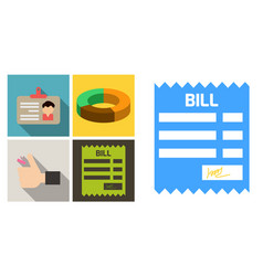 set of economic icons included bill form hand vector image
