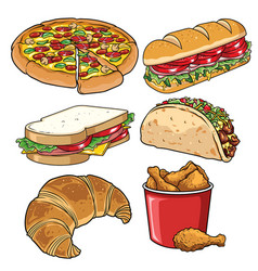 Set of fast food white vector