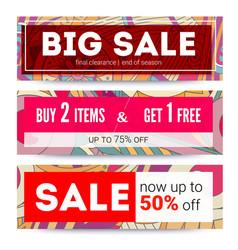 Set of sales banner on tribal pattern backdrop vector