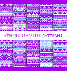 set of seamless in ethnic style tribal textiles vector image