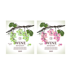 Set of two conceptual labels for wine vector