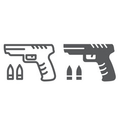 shooter game line and glyph icon game and play vector image