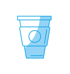 Silhouette delicious coffee in plastic cup icon vector