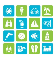 Silhouette Tropic and summer icons vector image