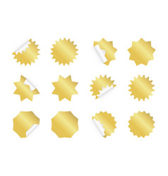 Starburst sticker set blank golden sunburst vector