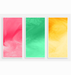 three watercolors banner in different colors vector image