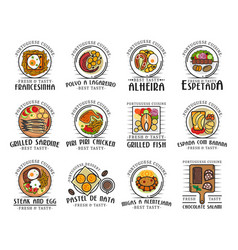 Traditional portuguese food portugal meals vector