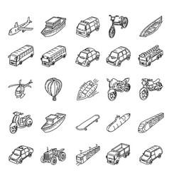 transportation set icon vector image