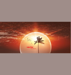 tropical sunrise with gradient sun and silhouette vector image
