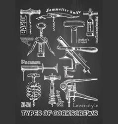 types corkscrews vector image