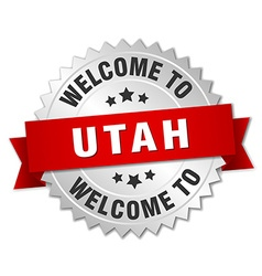Utah 3d silver badge with red ribbon vector
