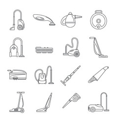 Vacuum cleaner washing icons set outline style vector