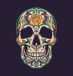 vintage mexican sugar skull colorful concept vector image