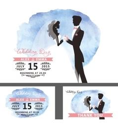 Wedding template setBridegroomwatercolor cyan vector