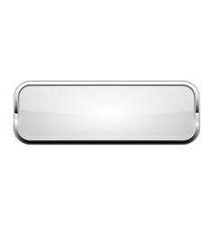 White glass button shiny rectangle 3d web icon vector