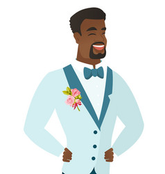 Young african-american groom laughing vector