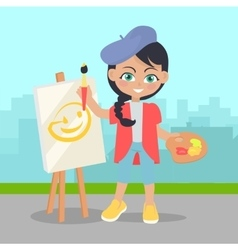 Girl Drawing on Easel on Landscape of Urban City vector image