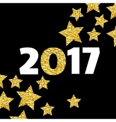 Happy New Year 2017 card with gold star on black vector image vector image