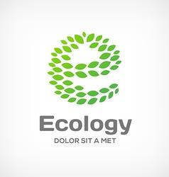 Letter e eco green leaf logo icon design template vector