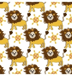 pink gold lion pattern with magic flower cartoon vector image vector image