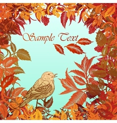 Autumn colorful background with leaves and bird vector image