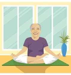 senior man doing yoga exercises in lotus position vector image vector image