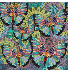 Texture with mandalas and butterflies vector image vector image