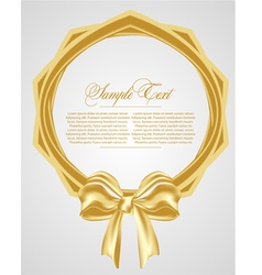 abstract background with gold bow vector image vector image