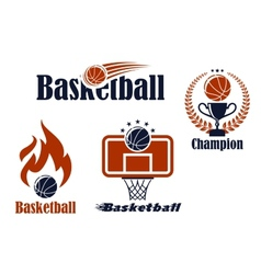 Basketball sport team emblems and symbols vector image vector image