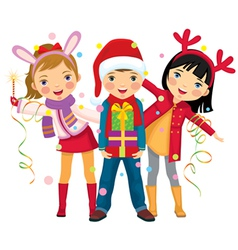childrens christmas party a surprise vector image