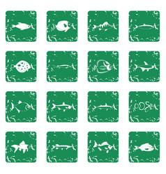 fish icons set grunge vector image