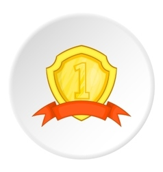 Golden shield for first place icon cartoon style vector