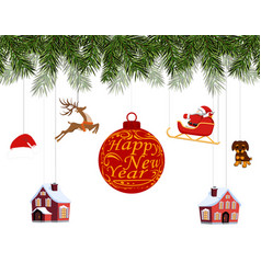 new year christmas various toys hanging on spruce vector image