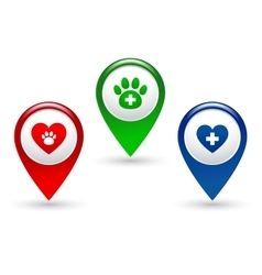 pointer with paw heart and veterinary cross vector image
