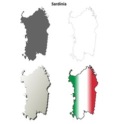Sardinia blank detailed outline map set vector