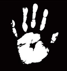 White palmprint shape on black background vector