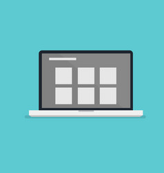 flat laptop design with layout information on vector image vector image