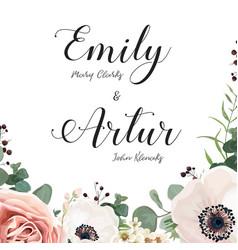 floral wedding invitation elegant invite card vector image vector image