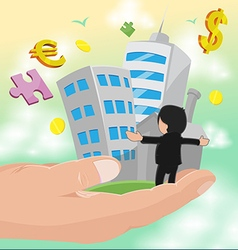 Hand Hold Business Man Success Work vector image vector image