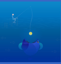 low poly line fisherman fishing vector image vector image