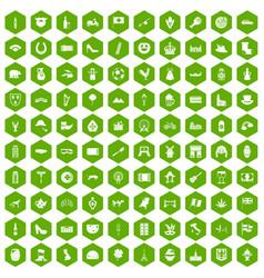 100 europe icons hexagon green vector
