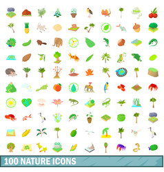 100 nature icons set cartoon style vector