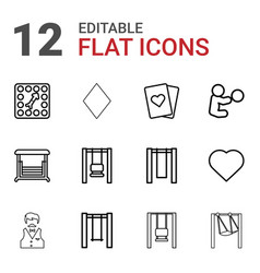 12 playing icons vector