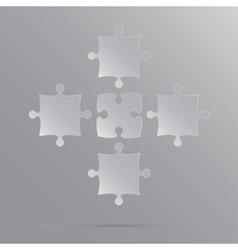 5 Grey Puzzles Pieces JigSaw vector
