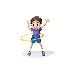 A young man playing with the hulahoop vector