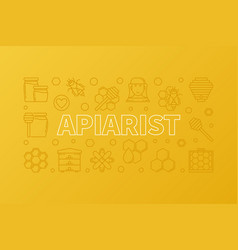 apiarist creative yellow outline horizontal vector image