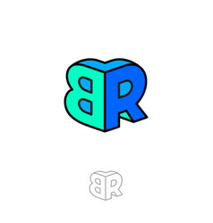 b and r logo two letters volume figure building vector image