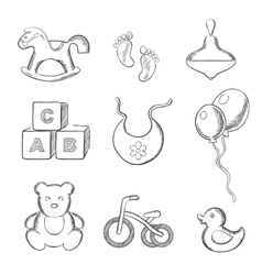 Baby and toys sketched icons set vector image